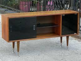 Mid Century Corner Cabinet Black Glass Media Shelf Floating Mid Century Modern Walnut Wood
