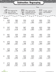 3 digit subtraction with regrouping worksheets math and