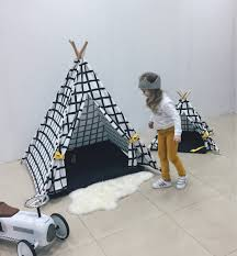 tente indienne tipi black and white canvas teepee childrens teepee kids teepee play