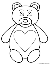teddy bear with large heart coloring page animals