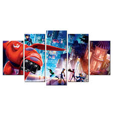 modern wall murals animated film poster big hero canvas wall art modern wall murals animated film poster big hero canvas wall art decorative painting hd picture contemporary giclee artwork 5pcs in painting calligraphy