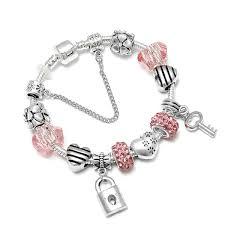 diy pandora charm bracelet images Spinner romantic love diy charm bracelet love heart key and lock jpg