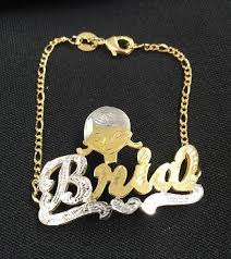 Name Bracelets Gold Personalized 14k Gold Plate Any 3d Name Any Disney Character