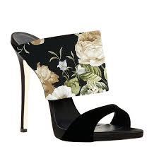 Mule Sandals Floral Stiletto Heels Suede Formal Mule Sandals For Date