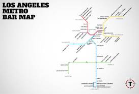 la metro rail map la metro rail map map with bars near every stop thrillist