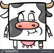 domestic animals square cow cartoon stock illustration i4049561