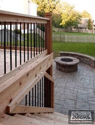 Patios Kansas City Leeder Cedar Deck In Kansas City With Stamped Concrete Patio And