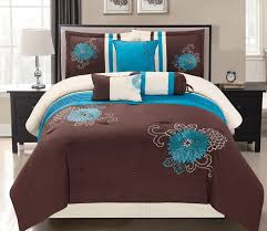 bedding endearing blue and brown queen size comforter sets machine