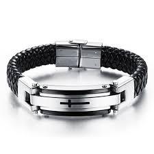 man bracelet cross images Feraco leather bracelet cross mens stainless steel braided bangle jpg