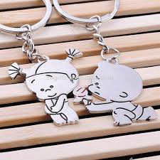 sell unique zinc alloy metal paired key chain lovers couple