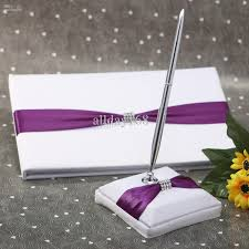 guest book and pen set 2018 wedding favors wedding party purple ribbon rhinestone chain