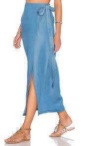 denim maxi skirt capulet wrap maxi skirt in washed denim revolve