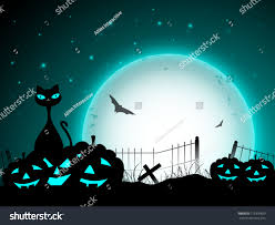halloween cat silhouette background halloween moon light night background with scary pumpkins flying