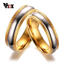 unique metal rings images Vnox gold color wedding rings for women men stainless steel unique jpg