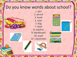 classmates book my school do you words about school 1 pen 2 pencil 3
