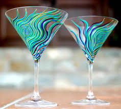 martini glass acrylic painting peacock martini glassesset of 2 hand painted glasses