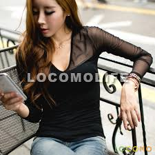women see through sheer shoulder long sleeve top blouse black
