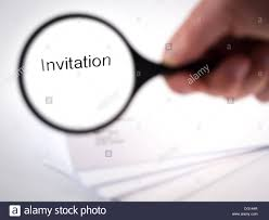 letter with the word invitation in the letterhead stock photo