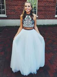 buy two piece halter floor length prom dress with embroidery