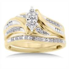 wedding gold rings 1 3 carat diamond t w bridal set in 10kt yellow gold walmart