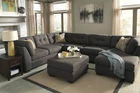 Tufted Sectional Sofa by U Shape Gray Canvas Fabric Sectional Sofa With Tufted Backrest And
