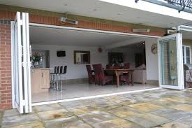Bifold Patio Doors Open Plan Kitche And Dining Room With White Steel Folding Patio