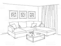 sketch room living room interior graphic black white sketch illustration stock