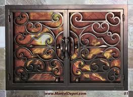 fine fireplace doors wrought iron door designs plans on design
