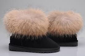 womens ugg boots ellee style ugg 5854 fox fur boots mini boots black