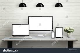 devices on desk isolated screen mockup stock photo 403479430
