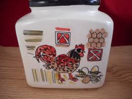 Primitive Kitchen Canisters Country Farm Rooster Hen Ceramic Kitchen Cookie Jar Canisters Set Of 3