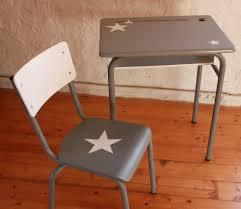 bureau d écolier vintage enfant relooké gris blanc etoilé meubles