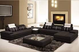 tres grand canap d angle canapé d angle en cuir italien 7 8 places noir blanc