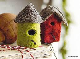 felt bird house ornaments set of 12