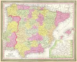 Portugal Spain Map by File 1850 Mitchell Map Of Spain And Portugal Geographicus