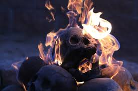 Backyard Skulls A Flaming Pile Of Skulls Is The Perfect Backyard Accessory For 2017