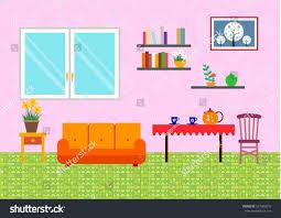 Living Room Simple Arrangement Living Room Arrangement Sketch Simple Style Stock Vector 547980070