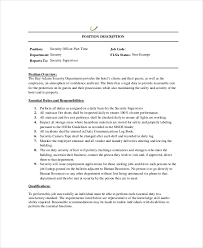 Supervisor Job Description Resume by Security Officer Job Description Cover Letter Job Description For