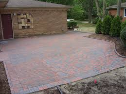 Pavers Ideas Patio Large Brick Stone Patio With Green Tree Also Brown Stone Wall With
