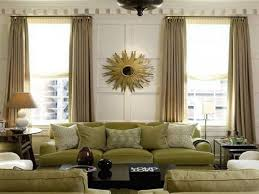 window treatment living room brown color curtains blue wall