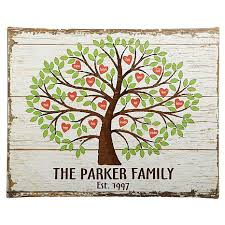 personal creations personalized family tree of hearts canvas 11