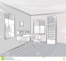 interior sketch retro working place furniture living room view