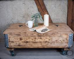 Rustic Coffee Table With Wheels Cart Coffee Table Etsy