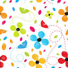 three colorful flowers and three butterflies vector clipart image