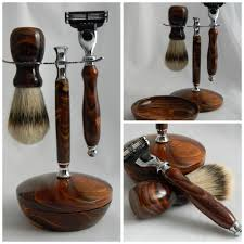 Old Fashioned Shave Kit Hand Turned Razor Silvertip Badger Shaving Brush Stand And