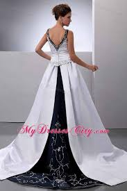 black and white wedding dresses and white empire v neck embroidery court wedding dresses