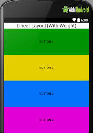 android layout weight attribute linear layout tutorial with exles in android