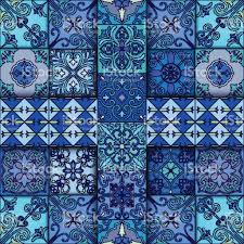 seamless pattern with portuguese tiles in talavera style azulejo