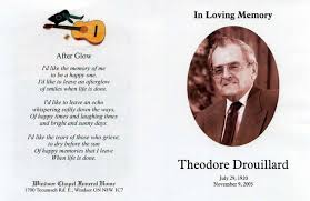 prayer cards for funeral ted drouillard obituary prayer card