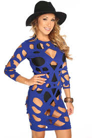 womens clothing bodycon dresses royal blue long sleeves cut out